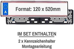Eurosnap Edelstahl Kennzeichenhalter 2er Set f/ür /Österreich