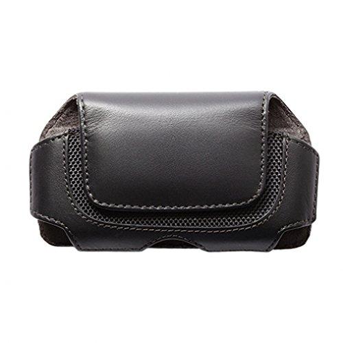 Black Horizontal Leather Side Phone Case with Belt Clip Loops for Virgin Mobile Kyocera Event - Virgin Mobile Kyocera Rise - Virgin Mobile LG LG200 - Virgin Mobile LG Optimus Slider (Lg Optimus Slider Cover)