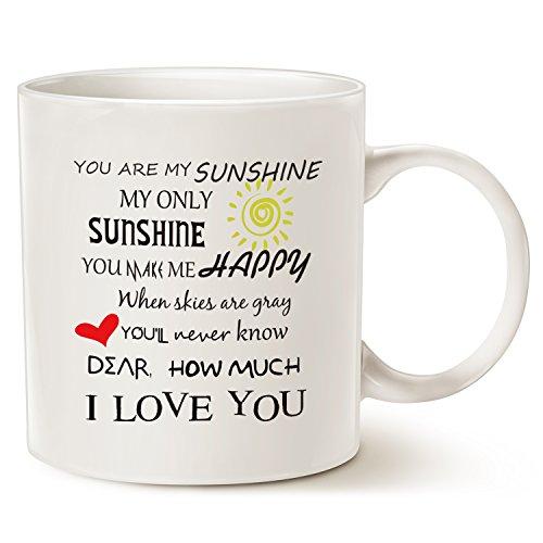 MAUAG Inspirational Love Coffee Mug Christmas Gifts, You Are My Sunshine Word Art Typography Coffee Cup White, 11 Oz]()