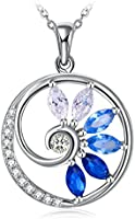 """J.Rosée Silver Necklaces for Women, 925 Sterling Silver 3A Cubic Zirconia Swan or Elephant Pendant Necklace Fine Jewelry 18""""+2""""Extender, Gift Packed"""