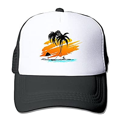 Silhouette of Palm and Surfer Men's Women's Adjustable Snapback Hats Hip Hop Caps | Baseball Caps Mesh Back