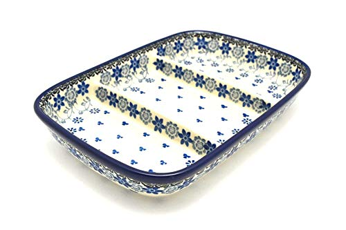 (Polish Pottery Dish - Divided Rectangular - Silver Lace)