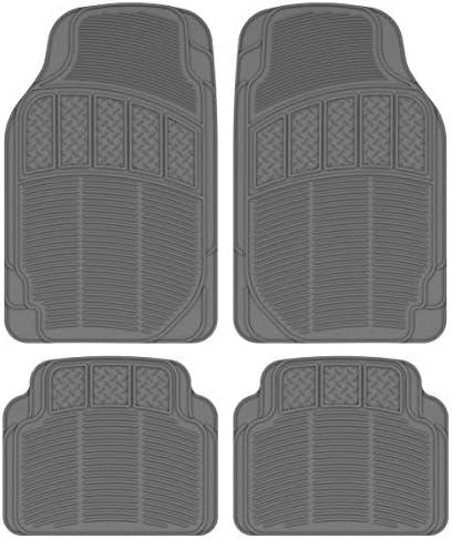 BDK CarXS ProLiner Classic Rubber Car Floor Mats – Heavy Duty Ridges & Diamond Grid Heelpad Performance Liners for Auto Sedan Truck SUV Van (Gray)