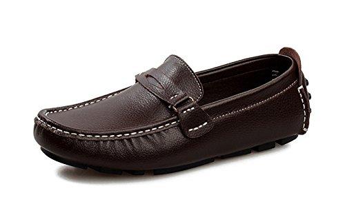 Aisun Homme Mode Conduite Chaussure Bateau Slip On Mocassins Brun