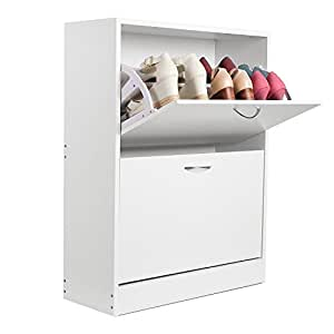 Homfa zapatero mueble zapateros 2 estanter as para 12 for Mueble zapatero amazon