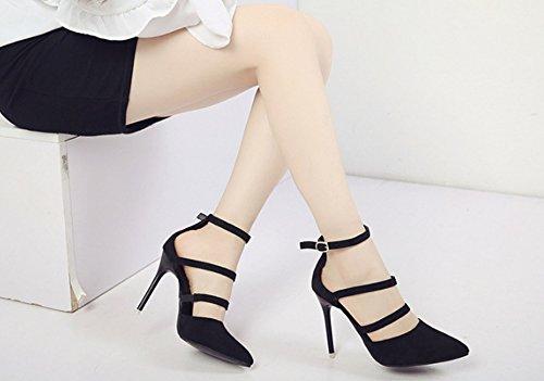 LBDX féminins unique sandales les l'Europe Baotou haut été 38 mode boucle talon Noir États mince Unis Printemps et et Noir Couleur taille chaussures TArwg4T