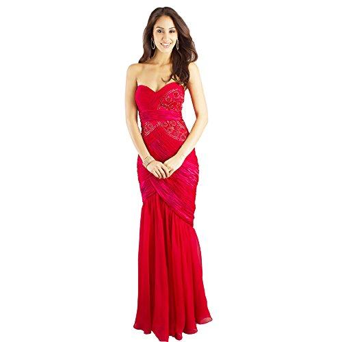 traegerloses bodenlangen BRIDE Abendkleid Chiffon Rot Meerjungfrau Trompete Rot GEORGE aBvgwn
