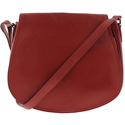 Giani Bernini Womens Leather Lined Saddle Handbag Red Medium Bernini Womens Handbag