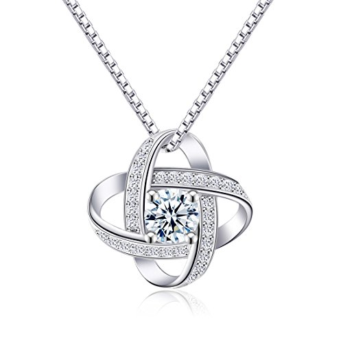 (CAT EYE JEWELS Good Luck Knot Fashion Pendant Necklace, S925 Sterling Silver AAA Cubic Zirconia Cletic Knot N009)