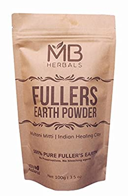 MB Herbals 100% Pure Fullers Earth Powder 100g | 3.5oz | Multani Mitti Facial Clay Bentonite Indian Healing Clay | No Preservatives | No Bleaching Agents | No Added Fragrance| Fuller's Earth from MB Herbals