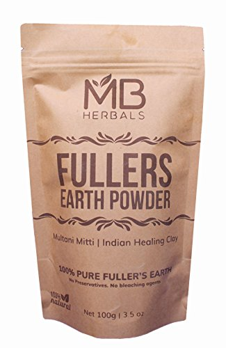 MB Herbals 100% Pure Fullers Earth Powder 100g | 3.5oz | Multani Mitti Facial Clay Bentonite Indian Healing Clay | No Preservatives | No Bleaching Agents | No Added Fragrance| Fullers Earth