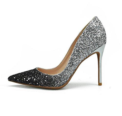 Chaussures Chaussures 45 Élégant À Travail De Argent Taille Mariage Talons Argent Classique Partie Femmes Zwf Hauts 35 FdqpEd
