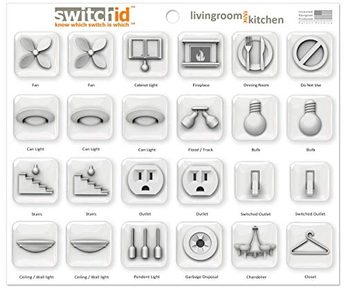 SwitchID Living Room and Kitchen Switch Label and Decal Identifiers, 3D Design - Clear ()
