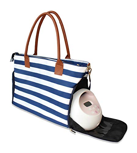 Lil Elephant Breast Pump Bag – Premium Pumping Bag for Spectra, Medela Breastpump | Stylish Tote Breastpump Bags for Moms | Breast Pump Bags and Totes (Blue & White Stripes)