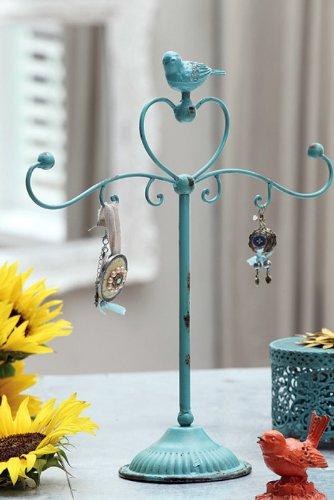Shabby Cottage Chic Jewelry Holder with Bird