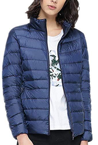 Monocromo Piumino Stlie Hot Di Cappotto Donna Cerniera Manica Coreana Outwear Tasche Lunga Moda Giacca Invernali Elegante Con Scuro Collo Outerwear Blu Grazioso Laterali Leggero rqrC6w1