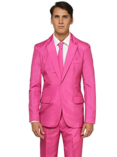 OFFSTREAM Plain Colored Suits for Men – Costumes Include Jacket Pants and Tie, Plain Pink, XL