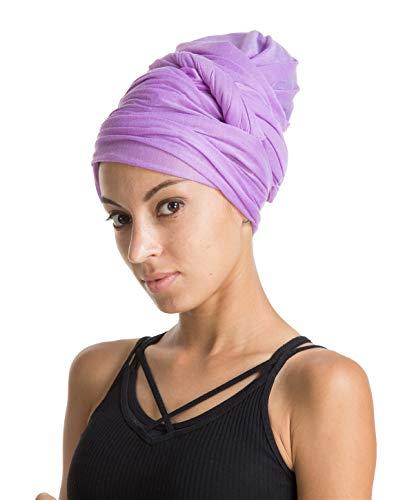 Turban Hat Headband Head Wrap - Lavender Magic Jersey Turbans HeadWrap Chemo Cap Tube Scarf Tie Hijab For Hair Muslim bohemian boho Black African Women ()
