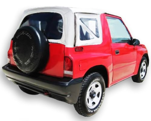 Acme C734/Charc-ST9753 GM Brite White on Black Pinpoint Vinyl SUV Soft Top for Suzuki Vitara/Chevrolet ()