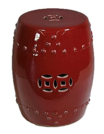 Asian Traditional Oxblood Red Ceramic Garden Stool Decorative Porcelain  Ceramic Circle Oriental Furniture