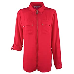 Michael Kors Michael Women's Zip Front Roll-Sleeve Shirt Blouse-TR-Small