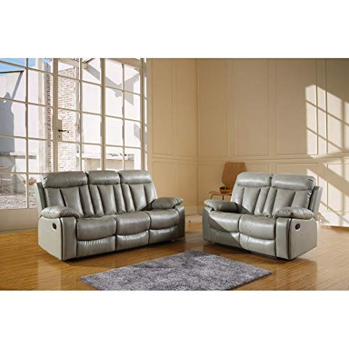 Blackjack Furniture 9361-GRAY-2PC The Ellis Collection 2-Piece Reclining Living Room Leather Sofa Set, Gray