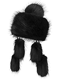 Futrzane Mongolian Faux Fox Fur Winter Hat for Women Russian Ski (Black)