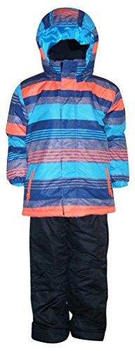 2 Piece Snowsuit Set (Pulse Little Boys' 2 Piece Snowsuit Set Dash Stripe (L (7), Orange/Aqua/Black))