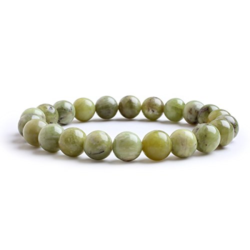 (Candyfancy 8mm Natural Peridot Beads Stone Healing Elastic Beaded Stretch Bracelets for Women Men DIY Spiritual Bracelet for 6-6.8Inch Wrist (Natural)