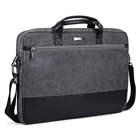 17.3 inch Laptop Shoulder Bag, Evecase PU Leather Modern Business Tote Briefcase Laptop Messenger Case with Accessory Pockets Black / Gray For Apple Macbook, Samsung Chromebook, Sony (Msi Ghost Gs60 Pro 4k)