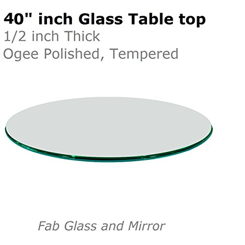 Fab Glass and Mirror 1/2'' Thick Ogee Tempered Round Glass Table Top, 40'' by Fab Glass and Mirror