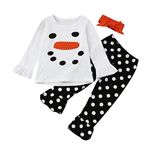 Pants Dot Print Top - 2-7 Years Old,FUNIC 3pcs Toddler Baby Girl Clothes Set Dot Print Tops+Pants+Headband (2 Years, White)