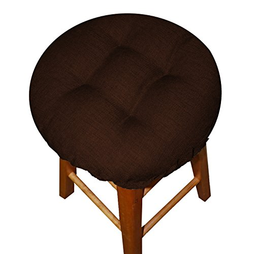 Bar Stool Cover - Rave Chocolate Brown - Size Standard Indoor / Outdoor Barstool Cushion - Latex Foam Bar Stool Cushion with Adjustable Drawstring (Round)