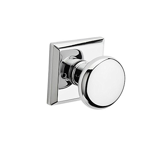 Baldwin Privacy Knob - Baldwin PVROUTSR260 Baldwin Reserve Privacy Round with Traditional Square Rose in Bright Chrome Finish