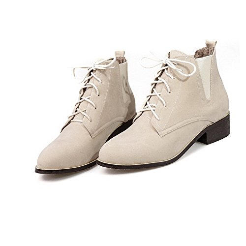 Toe Closed Boots Beige Top Heels up Lace AgooLar Low Low Frosted Round Women's wv7PXY