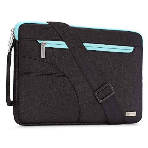 MOSISO Laptop Shoulder Compatible 2019 2018 New MacBook Air 13 inch Retina Display A1932, 13 inch New MacBook Pro A2159 A1989 A1706 A1708, Polyester Briefcase Carrying Bag Sleeve, Black & Hot Blue