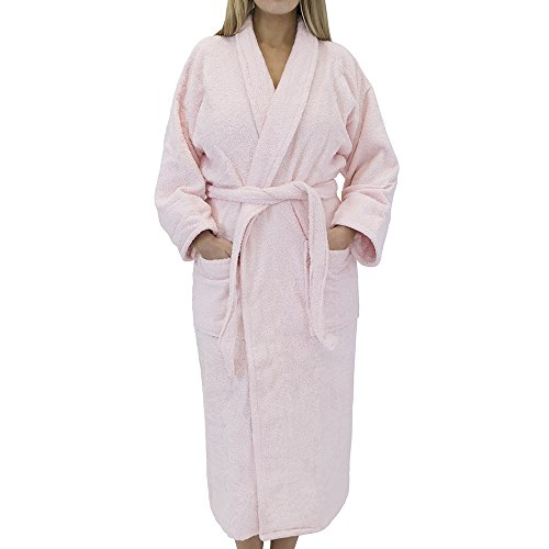 Classic Terry Cloth Bath Robe - Unisex Spa/Hotel Quality Robes for Men or Women - 100% Long Staple Cotton, Medium, Pink