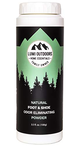 Natural Powder Shoe and Foot Odor Eliminator and Deodorizer - Talc Free Foot Powder - Fresh Lemongrass Scent