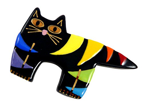 22k Gold Accents - Modern Artisans American Handmade Ceramic Rainbow Cat Pin, Black with 22k Gold Accent