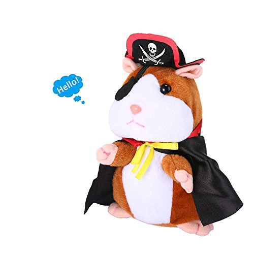 Leegoal Hamster Plush Toy, Repeat Your Words Funny Stuffed Animal Toy, Talking Record Electronic Pirate Hamster for Girls and Boys