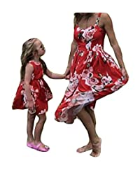 Lesimsam Mommy and Me Floral Print Sleeveless Dress Mother Daughter Strappy A Line Dress Family Matching Dress