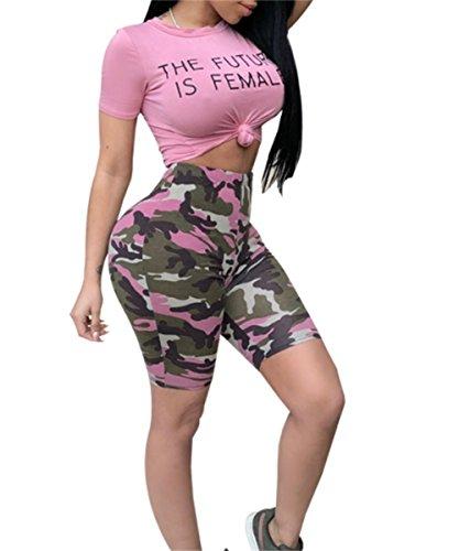 Molisry Women's 2 Piece Outfits Rompers Tracksuits Letter Print Crop Top Short Pants Set -