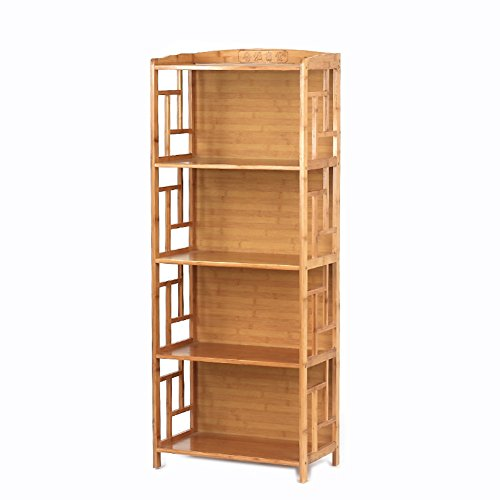 (JX&BOOS Bookcase,Solid Wood Bamboo Bookshelf Chinese Antique Bookshelves Simple Combination bookrack-I 70x30x130cm(28x12x51))
