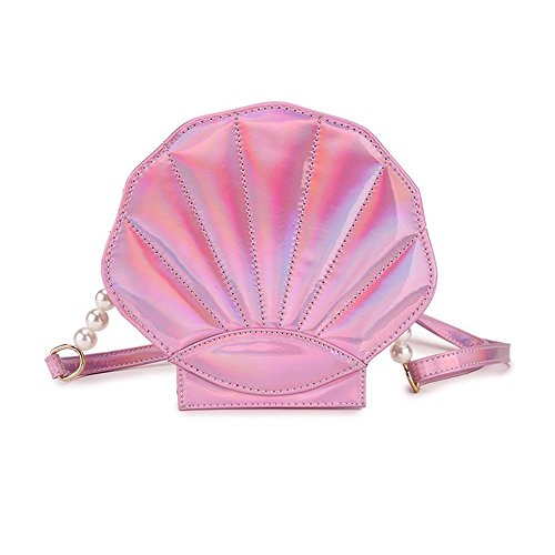FANCY LOVE Unique Crossbody Bags Cute Shell Shape Bag Messenger Lolita Mini Handbag for Women (Pink) (Shape Bag)