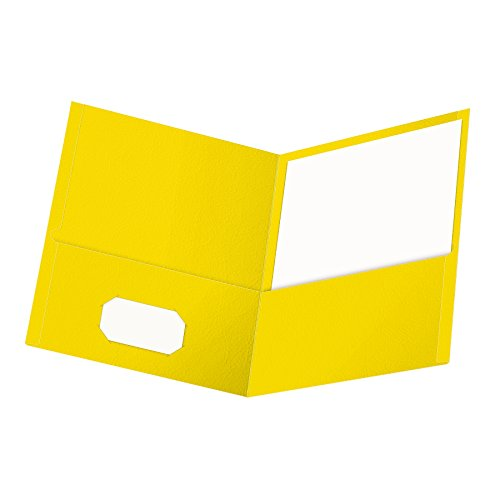 Oxford Twin-Pocket Folders, Textured Paper, Letter Size, Yellow, Holds 100 Sheets, Box of 25 (57509EE) ()