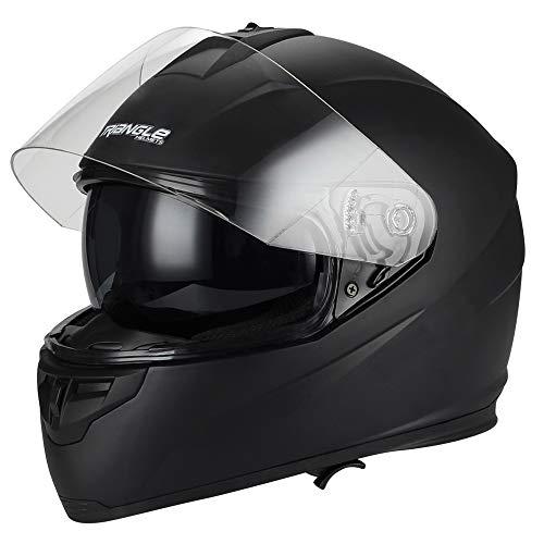 Triangle Full Face Motorcycle Helmets Dual Visor Street Bike (Large, Matte Black)