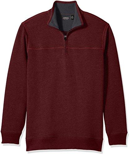 Arrow Men's Long Sleeve 1/4 Zip Sueded Fleece, Chocolate Truffle Heather, - Fleece Zip Neck Mock 1/4