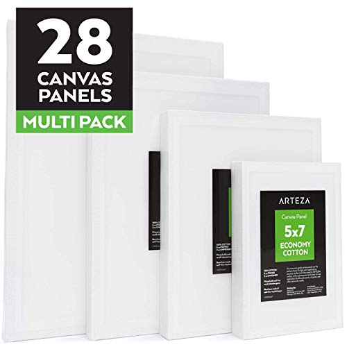 Arteza Painting Canvas Panels Multi Pack, 5x7, 8x10, 9x12, 11x14, Set of 28, Primed White, 100% Cotton with Recycled Board Core, for Acrylic, Oil, Other Wet or Dry Art Media, for Artists