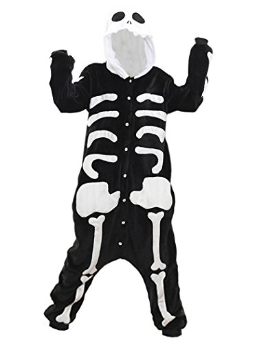 Nature T Couple Lovers flannel Adult Onesie Skeleton Cosplay (Skeleton Onesie For Women)