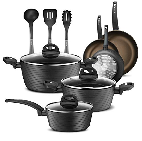 NutriChef 12-Piece Nonstick Kitchen Cookware Set – Professional Hard Anodized Home Kitchen Ware Pots and Pan Set…